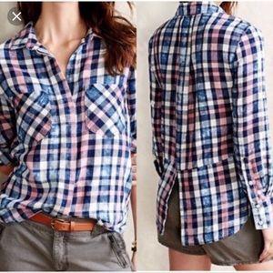 CLOTH & STONE Narayan Plaid Bleach Acid Tunic Top